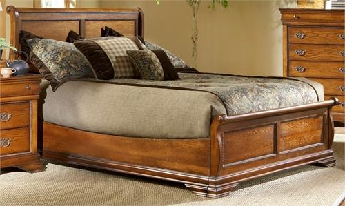 Shenandoah Oak King Low Profile Sleigh Bed by Elements Furniture - Cox Furniture and Flooring