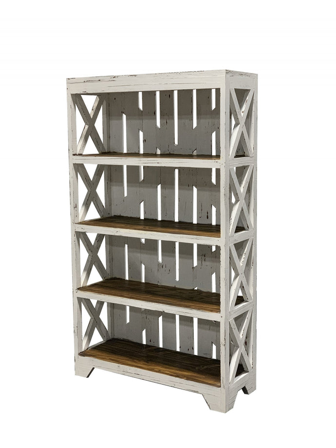 Solid Wood Rustic White Bookcase - Cox Furniture and Flooring