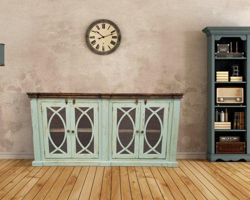 Turquoise Solid Wood Console by Rustic Creations - Cox Furniture and Flooring