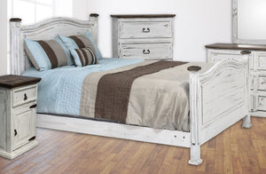 White Petite Bed Queen Size - Cox Furniture and Flooring
