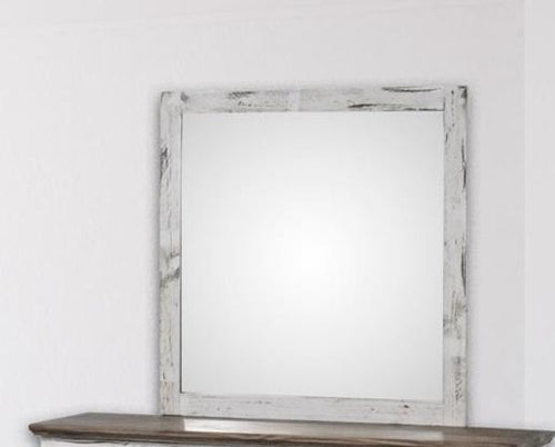 White Petite Solid Wood Mirror - Cox Furniture and Flooring