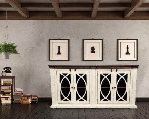 White Solid Wood Console by Rustic Creations - Cox Furniture and Flooring