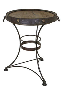 Wiskey Barrel End Tall End Table with Iron Base - Cox Furniture and Flooring