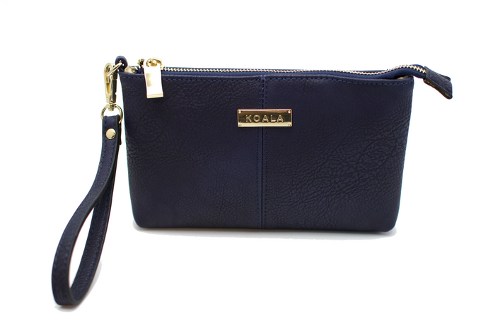 The Classic Wristlet - Navy - Magnetic Wristlet with removable handle