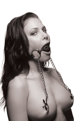 Silicone Ball Gag w/ Clamps