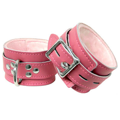 Pink Leather Fur-lined Wrist Cuffs