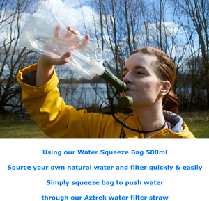 Water Purification System - Compact Outdoor Water Filtration Drinking Kit -  Camping Purifier