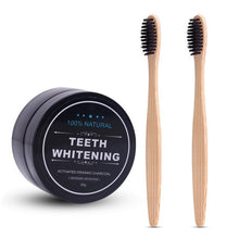 Charcoal Teeth Whitening Powder & 2x Bamboo Toothbrushes
