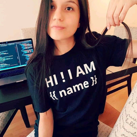 HI ! I AM {{ name }} - Black T-Shirt for Developers