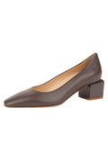 Womens Asphalt Nappa Novella Block Heeled Pump