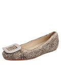 Womens Beige Spotted Pony Cloud Square Toe Flat