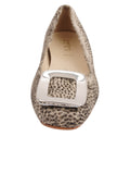 Womens Beige Spotted Pony Cloud Square Toe Flat 4