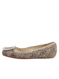Womens Beige Spotted Pony Cloud Square Toe Flat 7