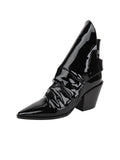 Womens Black Patent Leather Jaegar Bootie