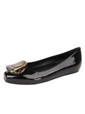 Womens Black Patent Leather Cloud Square Toe Flat