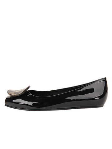 Womens Black Patent Leather Cloud Square Toe Flat 7