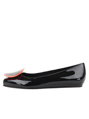 Womens Black Patent/Neon Ornament Cloud Square Toe Flat 7