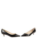 Womens Black Patent Born Pointed Toe Kitten Heel 5