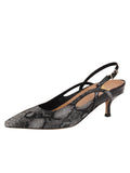 Womens Black Pearl Sadetta Pointed Toe Slingback