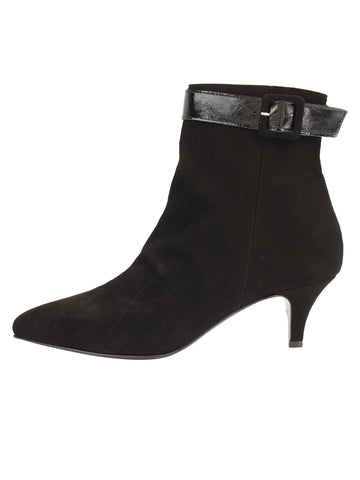 Womens Black Suede Brenda Pointed Toe Bootie 7