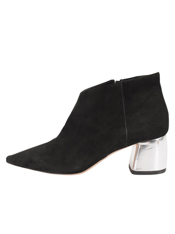 Womens Black Suede Whistle Pointed Toe Bootie 7