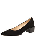 Womens Black Suede Novella Block Heeled Pump