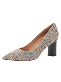 Womens Black Tweed Eloisee Pointed Toe Pump