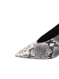 Womens Black/White Snake Kaysha Pointed Toe Pump 6