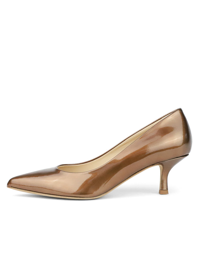Womens Brass Patent Softly Pointed Toe Pump 7