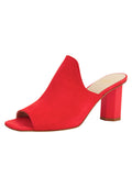 Womens Burnt Red Suede Gilda Peep-Toe Mule