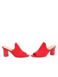 Womens Burnt Red Suede Gilda Peep-Toe Mule 5