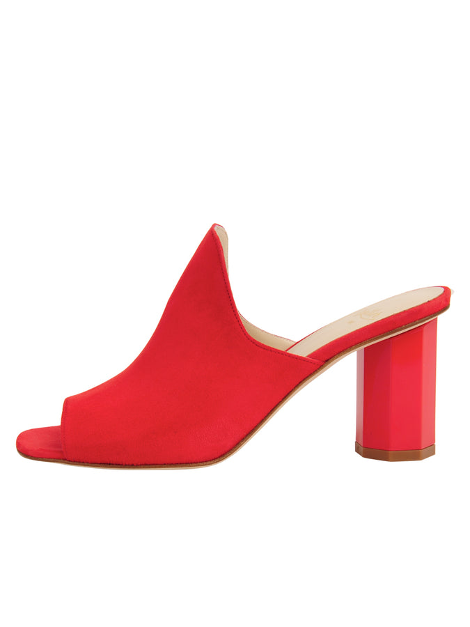 Womens Burnt Red Suede Gilda Peep-Toe Mule 7