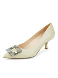Womens Celery Nappa Serena Pointed Toe Pump