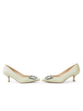 Womens Celery Nappa Serena Pointed Toe Pump 5