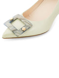 Womens Celery Nappa Serena Pointed Toe Pump 6
