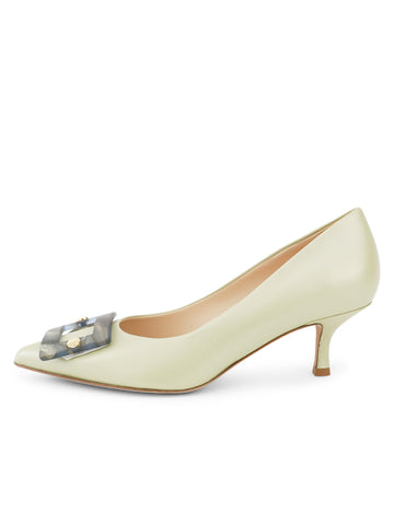 Womens Celery Nappa Serena Pointed Toe Pump 7