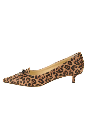 Womens Cheetah Shimmer Fabric Brusca Pointed Toe Kitten Heel 7