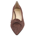 Womens Dark Brown Suede Brusca Pointed Toe Kitten Heel 4