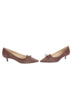 Womens Dark Brown Suede Brusca Pointed Toe Kitten Heel 5