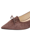 Womens Dark Brown Suede Brusca Pointed Toe Kitten Heel 6