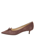 Womens Dark Brown Suede Brusca Pointed Toe Kitten Heel 7