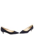 Womens Dark Navy Suede Born Pointed Toe Kitten Heel 5