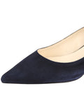 Womens Dark Navy Suede Born Pointed Toe Kitten Heel 6