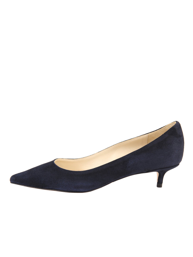 Womens Dark Navy Suede Born Pointed Toe Kitten Heel 7