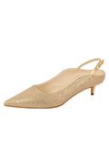 Womens Gold Wash Linen Brook Slingback Kitten Heel