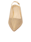Womens Gold Wash Linen Brook Slingback Kitten Heel 4