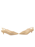 Womens Gold Wash Linen Brook Slingback Kitten Heel 5
