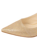 Womens Gold Wash Linen Brook Slingback Kitten Heel 6