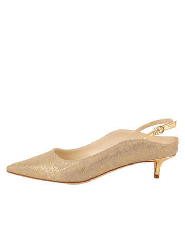 Womens Gold Wash Linen Brook Slingback Kitten Heel 7