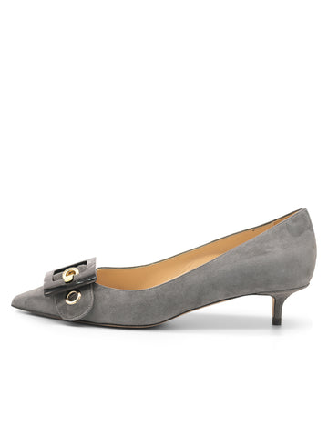 Womens Grey Suede Diana Pointed Toe Kitten Heel 7